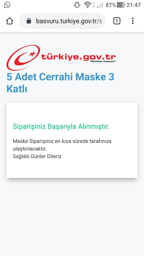 E-Devletten maske siparişi nasıl verilir